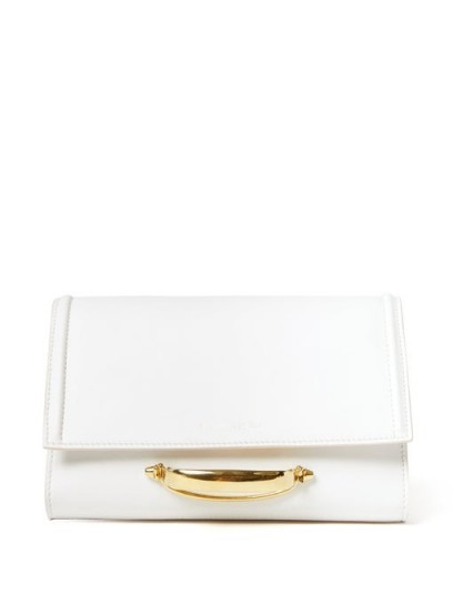 ALEXANDER MCQUEEN The Story small white-leather clutch bag ~ front handle event bags