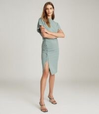 REISS THEODORA WAIST DETAIL DRESS TEAL ~ lace up detail dresses