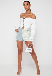 Manière De Voir TIE DYE SPLIT DENIM SHORTS LIGHT BLUE | two tone shorts