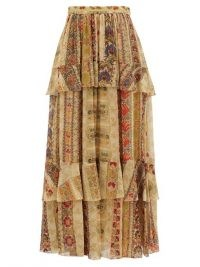 ETRO Tiered paisley-print silk-chiffon maxi skirt ~ luxury boho skirts