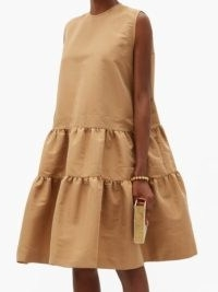ROCHAS Tiered twill dress ~ beige sleeveless dresses