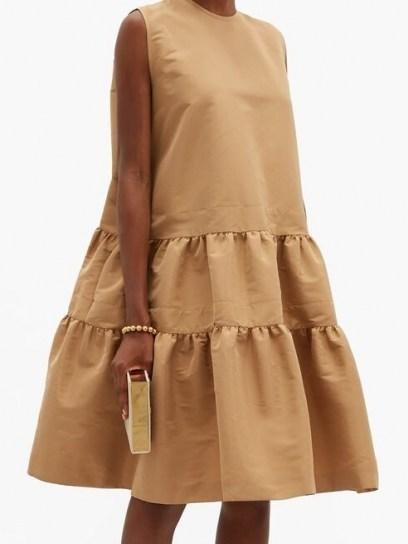 ROCHAS Tiered twill dress ~ beige sleeveless dresses - flipped