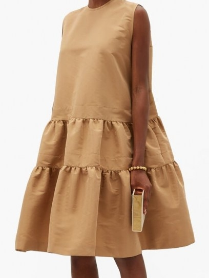 ROCHAS Tiered twill dress ~ beige sleeveless dresses