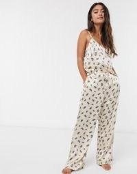 Topshop feather front pyjama in cream ~ nightwear ~ cami pyjamas
