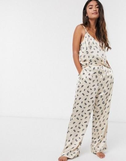 Topshop feather front pyjama in cream ~ nightwear ~ cami pyjamas