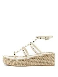 VALENTINO GARAVANI Torchon Rockstud leather wedge sandals ~ white caged wedges ~ stud covered sandal