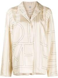 Hailey Bieber cream silk printed shirt, worn for Instagram, 29 July 2020, Totême Sanville monogram-print blouse   celebrity social media fashion   models off duty style