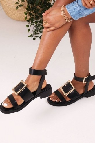 THE FASHION BIBLE TRIUMPH BLACK NAPPA TWO PART SANDAL WITH GIANT BUCKLE DETAIL / thick strap sandals - flipped