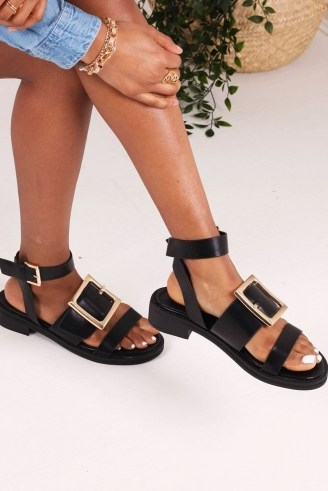 THE FASHION BIBLE TRIUMPH BLACK NAPPA TWO PART SANDAL WITH GIANT BUCKLE DETAIL / thick strap sandals