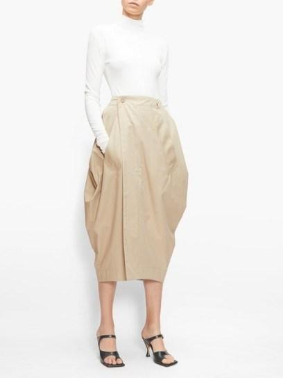 BOTTEGA VENETA Tulip wrap-front cotton-blend poplin skirt - flipped