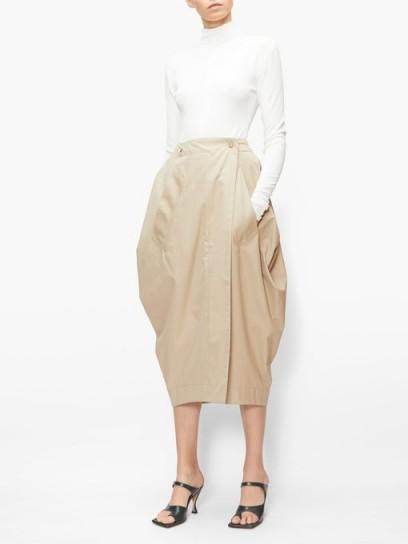 BOTTEGA VENETA Tulip wrap-front cotton-blend poplin skirt