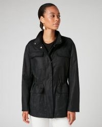 JIGSAW TWILL FIELD JACKET / black drawstring waist utility jackets