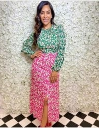 FOREVER UNIQUE Two-Tone Floral Print Long Sleeve Maxi Dress / green and pink block dresses