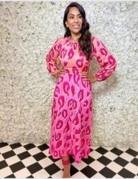 FOREVER UNIQUE Two-Tone Leopard Print Long Sleeve Maxi Dress / orange and pink dresses