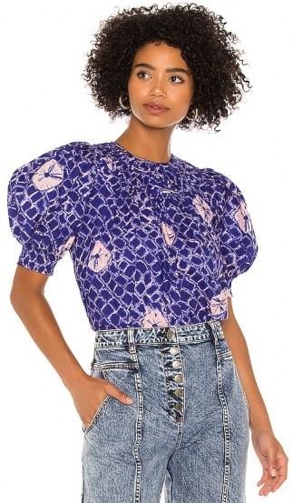 Ulla Johnson Carmela Top | blue puff sleeve tops - flipped