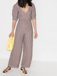 USISI Check Print Belted Jumpsuit