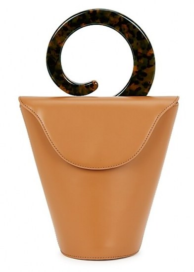 USISI Consti brown leather top handle bag | small bags - flipped