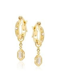 V BY LAURA VANN Lena 18kt gold-plated hoop earrings ~ detachable charm hoops
