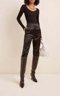 Toteme Vagueira Wool-Silk Top Black ~ scoop neck long sleeve ribbed tops ~ wardrobe essentials