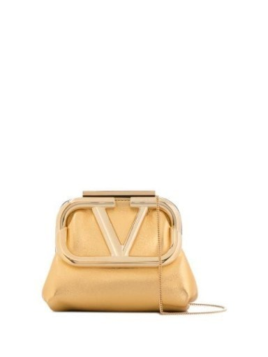 Valentino mini Supervee metallic clutch bag / gold vintage look evening bags - flipped