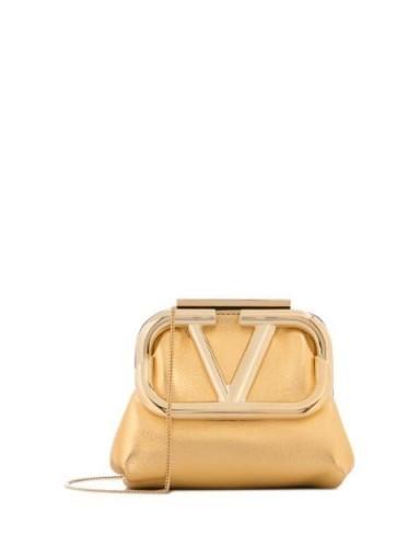 Valentino mini Supervee metallic clutch bag / gold vintage look evening bags