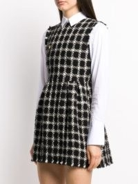 Valentino tweed checkered sleeveless dress / monochrome cheked dresses