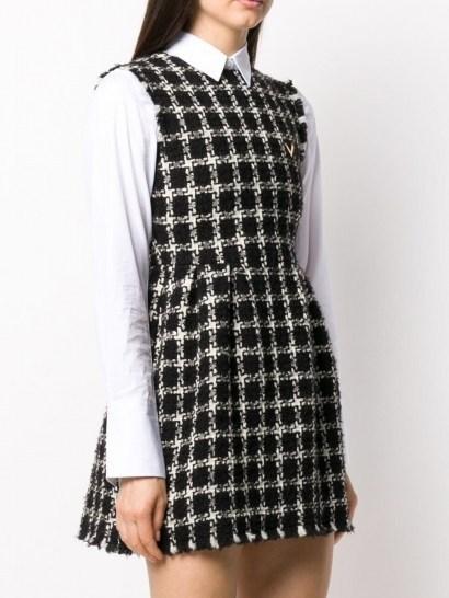 Valentino tweed checkered sleeveless dress / monochrome cheked dresses - flipped