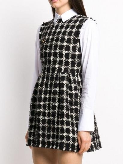 Valentino tweed checkered sleeveless dress / monochrome cheked dresses