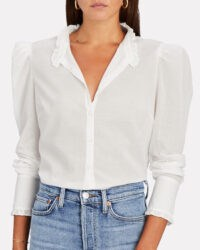 VERONICA BEARD Holli Cotton Button-Down Shirt | white ruffle trimmed feminine look shirts