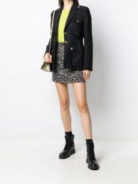 Versace Animalier houndstooth mini skirt / leopard print skirts