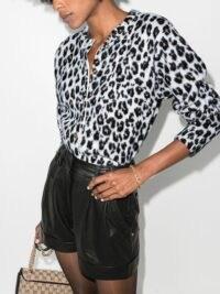 Versace leopard-print knit cardigan ~ glamorous knitwear ~ animal prints ~ button-up cardigans