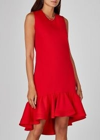 VICTORIA, VICTORIA BECKHAM Red flared-hem shift dress ~ asymmetrical ruffled hemlines