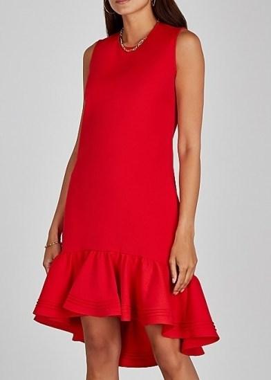 VICTORIA, VICTORIA BECKHAM Red flared-hem shift dress ~ asymmetrical ruffled hemlines - flipped
