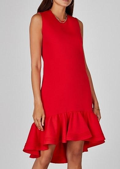 VICTORIA, VICTORIA BECKHAM Red flared-hem shift dress ~ asymmetrical ruffled hemlines