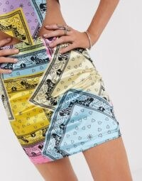 Vintage Supply mini skirt in scarf print co-ord | multicoloured skirts