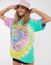 Vintage Supply oversized t-shirt with daisy graphic in tie dye / colourful loose fit tee