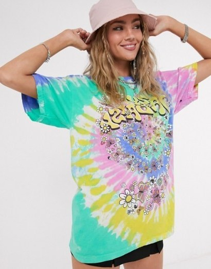 Vintage Supply oversized t-shirt with daisy graphic in tie dye / colourful loose fit tee - flipped
