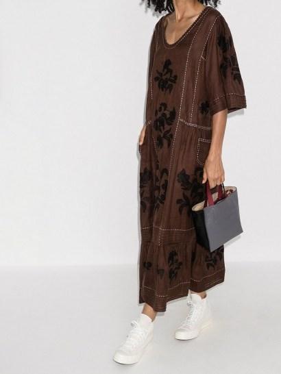 Vita Kin Carnation kaftan dress ~ floral frill hem dresses - flipped