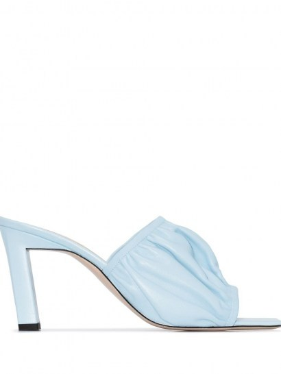 Wandler Ava 55mm ruched mules / wrinkled sky blue leather mule / ruche detail heels - flipped