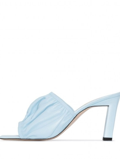 Wandler Ava 55mm ruched mules / wrinkled sky blue leather mule / ruche detail heels