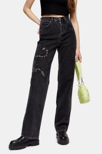 Topshop Washed Black Scorpion Embellished Jeans
