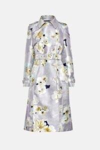 KAREN MILLEN Watercolour Belted Trench Coat / floral coats