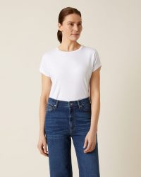 JIGSAW WHITBY SLOUCHY CAP SLEEVE TEE WHITE / essential summer tops / wardrobe staple
