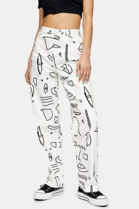 Topshop White Art Print Oversized Mom Jeans