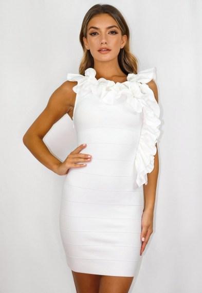 Missguided white bandage ruffle low back mini dress ~ ruffled bodycon dresses