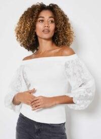 Mint Velvet White Bardot Puff Sleeve Top