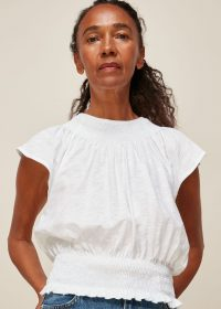 WHISTLES BLAISE ROUCHED TOP / feminine tops / summer wardrobe essentials