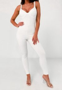 Missguided white bust cup unitard jumpsuit | plunging jumpsuits | unitards