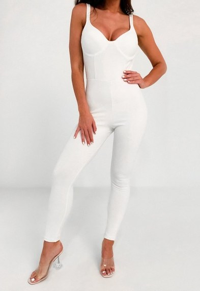 Missguided white bust cup unitard jumpsuit | plunging jumpsuits | unitards - flipped