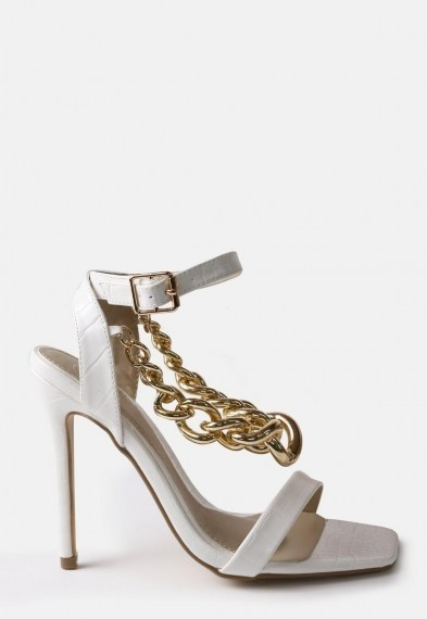 Missguided white chunky chain heeled sandals ~ chain detail high heel sandal - flipped